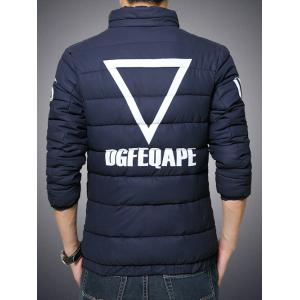 Plus Size Stand Collar Geometric and Letter Print Zip-Up Cotton-Padded Jacket - CADETBLUE 3XL