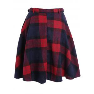Plaid Winter Mini Skater Skirt -