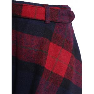 Pocket design taille haute Plaid Jupe - Rouge S