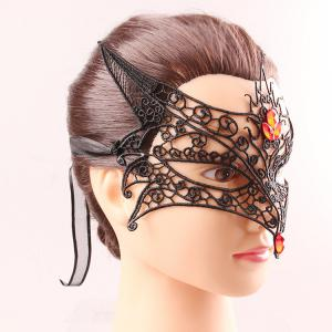 Fox Modelling Faux Gem Half Face Lace Cut Out Carnival Masquerade Masks -