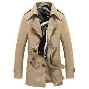 Detachable Hooded Epaulet and Belt Embellished Single-Breasted Coat -