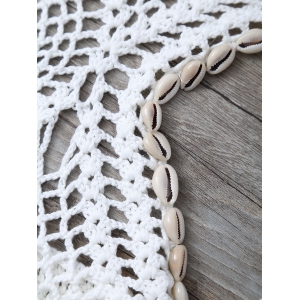 Crochet Shell Embellished Hollow Out Swimwear - WHITE ONE SIZE