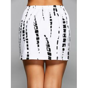 Elastic Waist Printed Mini Skirt -