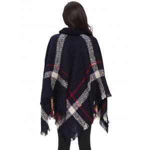 Turtleneck Fringe Long Cardigan Poncho -