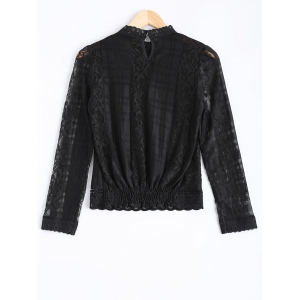 Hollow Out Lace Splicing Blouse -