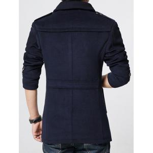 Epaulet Embellished Knited Spliced Single-Breasted Stand Collar Woolen Coat -