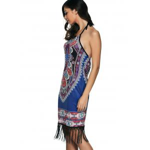 Printed Fringed Sheath Dress -
