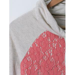 Lace Splicing Cowl Neck Tee -