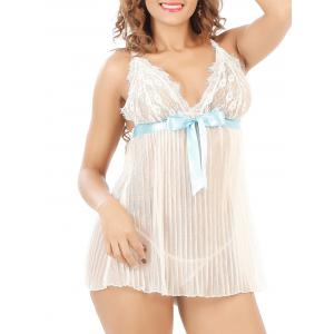 Laciness Bowknot Pleated Babydoll - WHITE 6XL