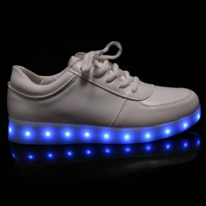 Fashionable Tie Up and Lights Up Led Luminous Design Athletic Shoes For Women - WHITE 43