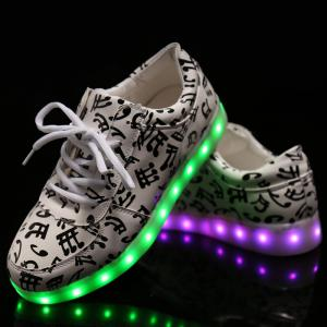 Trendy Lights Up Led Luminous and Musical Note Print Design Athletic Shoes For Women -