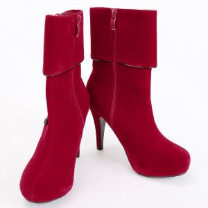 Fold Over Button Mid Calf Boots - RED 38