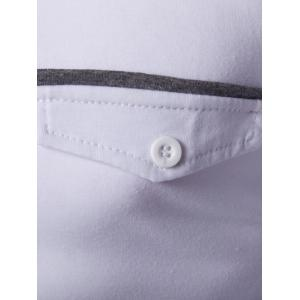 Contrast Spliced Button Up Long Sleeve Polo Shirt -