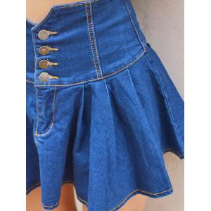 High Waist Buttoned Denim Skirt -