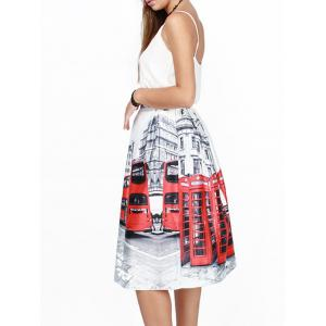 High Waist Bus 3D Print Puff Skirt - WHITE L