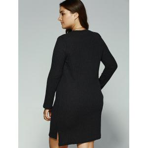 Long Sleeve High Low Mini Sweater Dress -