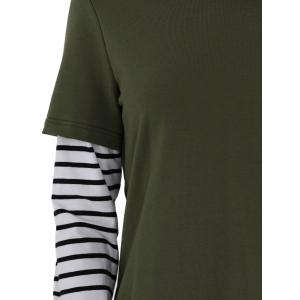 Striped Ripped Hoodie - ARMY GREEN L
