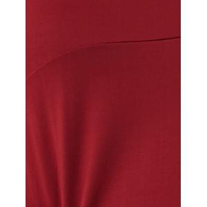 Flare Sleeve Fitting A-Line Dress - CLARET XL