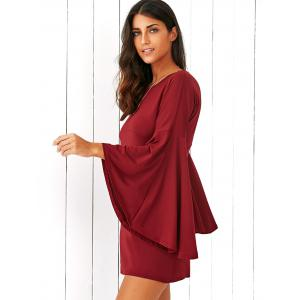 Flare Sleeve Fitting A-Line Dress - CLARET L