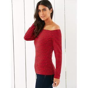 Off The Shoulder Striped T-Shirt -