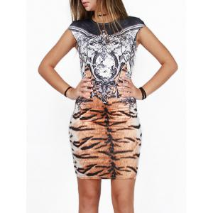 Tiger Striped Printed Skinny Bodycon African Style Dress - COLORMIX XL