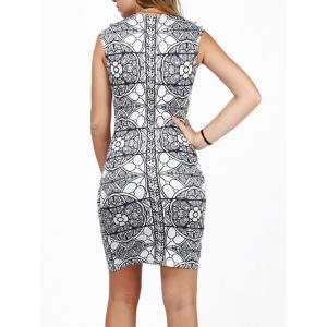 Slimming Bodycon Party Floral Bandage Dress - WHITE/BLACK L