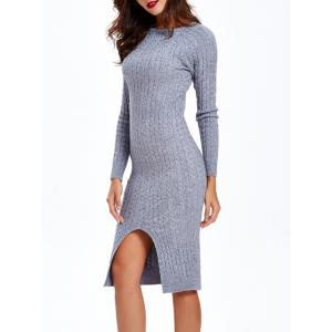 Long Sleeve Cable Knit Bodycon Dress -