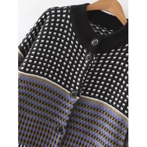 Long Sleeve Checked Single-Breasted Cardigan - COLORMIX ONE SIZE