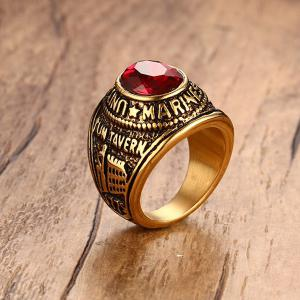 Faux Ruby alliage Oval Ring Forme -
