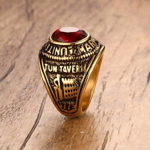 Faux Ruby Alloy Oval Shape Ring -