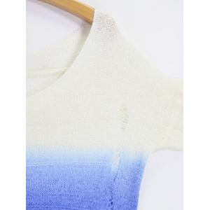 V Neck High Low Ombre Ripped Sweater - BLUE/WHITE ONE SIZE
