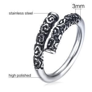 Stainless Steel Engraved Cuff Ring -