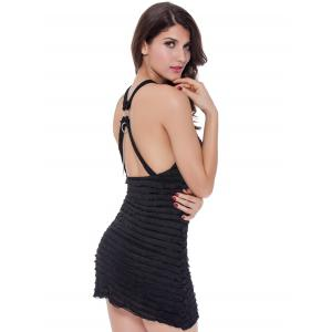 Criss Cross Backless Laciness Babydoll - BLACK M