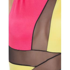 Mock Neck Mesh Panel Colorful Club Dress - BLUE+YELLOW+RED L