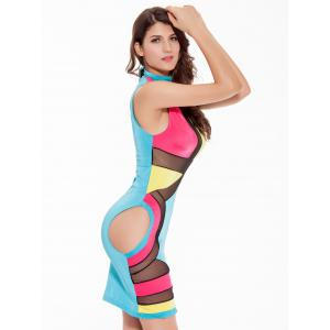 Mock Neck Mesh Panel Colorful Club Dress - BLUE/YELLOW/RED L