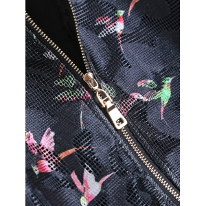 Long Sleeves Birdie Print Mesh Jacket -