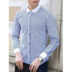 Turn-Down Collar Vertical Stripe Pattern Buttom-Down Shirt -