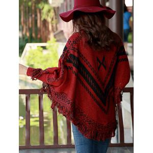Fringed Printed Cape Sweater -