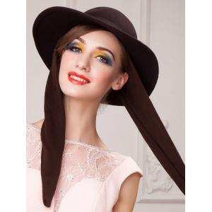 Wide Brim Wool Felt Bowknot Strappy With Scarf Fedora Hat -