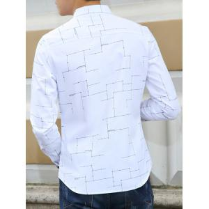 Turn-Down Collar Circuit Print Long Sleeves Shirt -