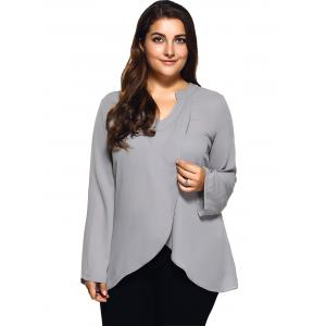 Plus Size Front Slit Loose Blouse - LIGHT GRAY 3XL