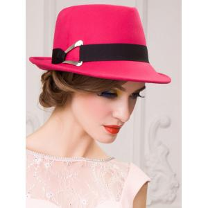 Ribbon Wool Floppy Trilby Felted Fedora Hat - ROSE MADDER