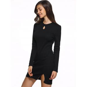 Keyhole Wool Blend Sheath Knit Dress - BLACK XL