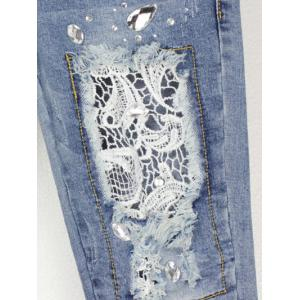 Lace Splicing Rhinestone Embellished Jeans -