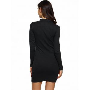Hollow Out Long Sleeves Bodycon Dress - BLACK S