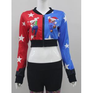 Color Block Christmas Crop Jacket -