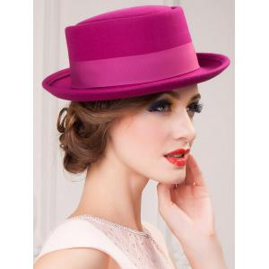 Embellished Flanging Wool Bowknot Flat Top Fedora Hat -