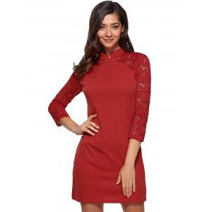 Raglan Lace Sleeve Fitted Mini Dress - RED M