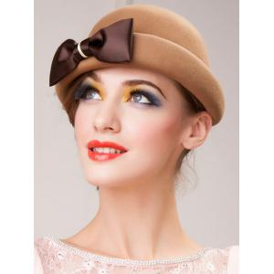 Wool Felt Big Bowknot Fedora Hat -