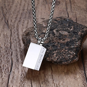 Polished Stainless Steel Brick Letters Necklace - SILVER